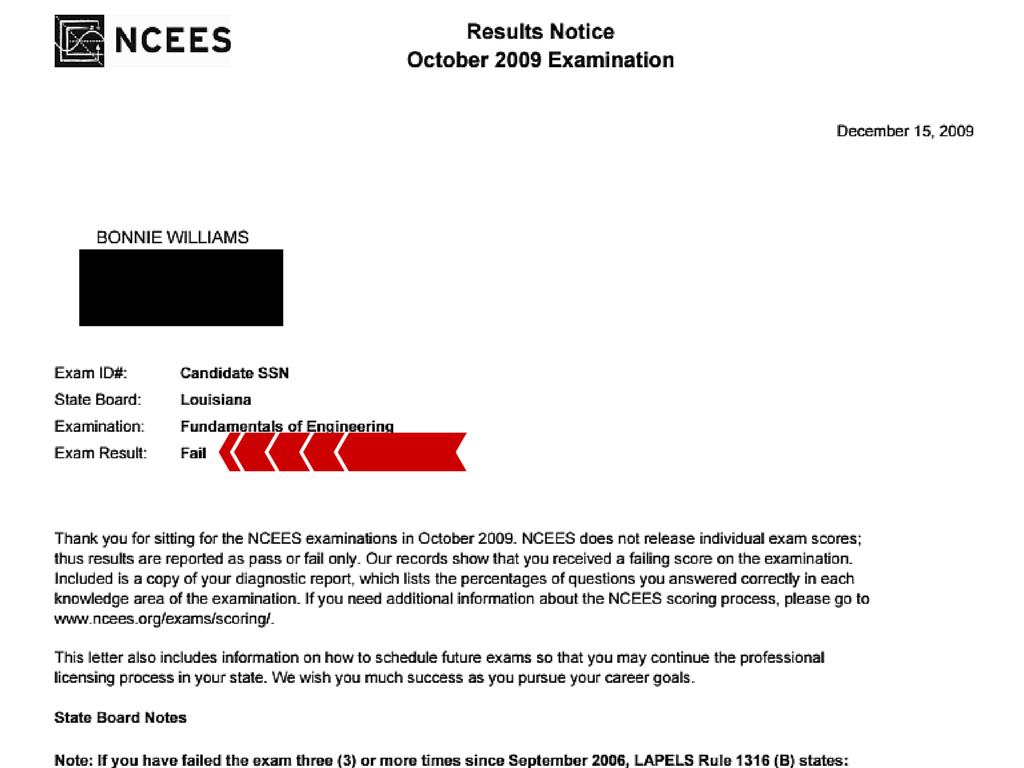 FE Exan Results Bonnie W R1