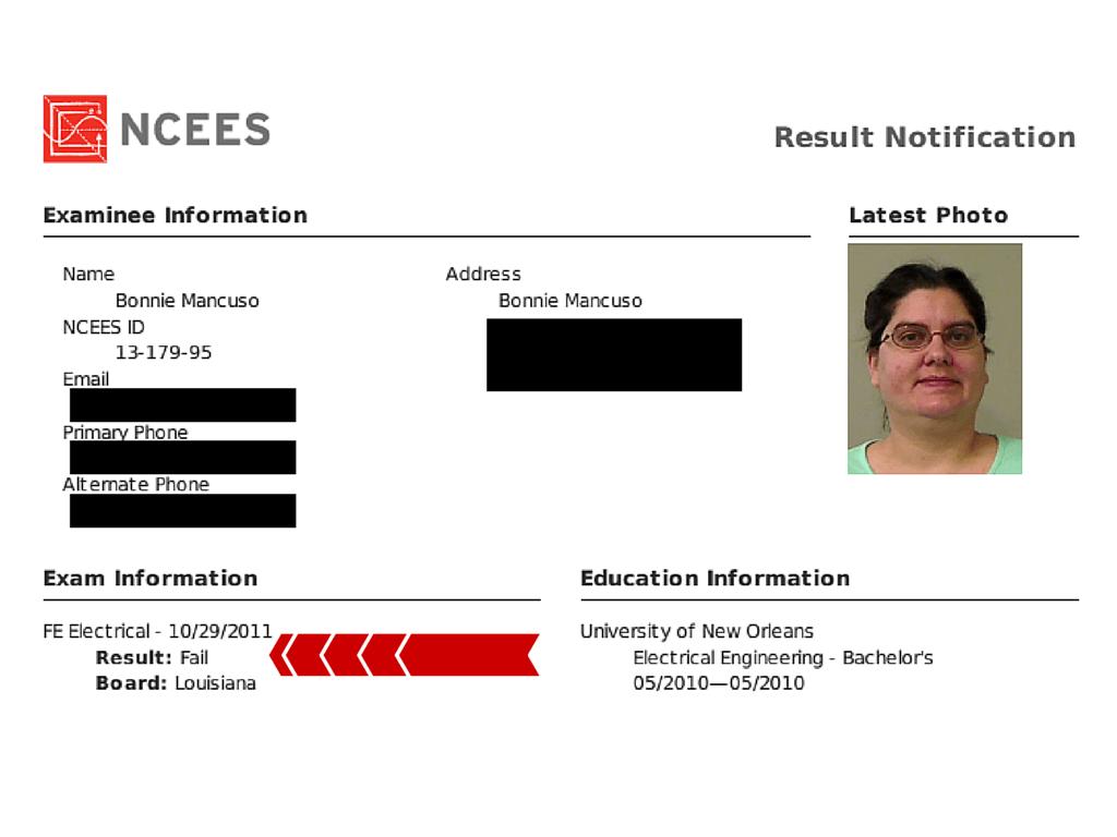 FE Exam Result Bonnie W 2