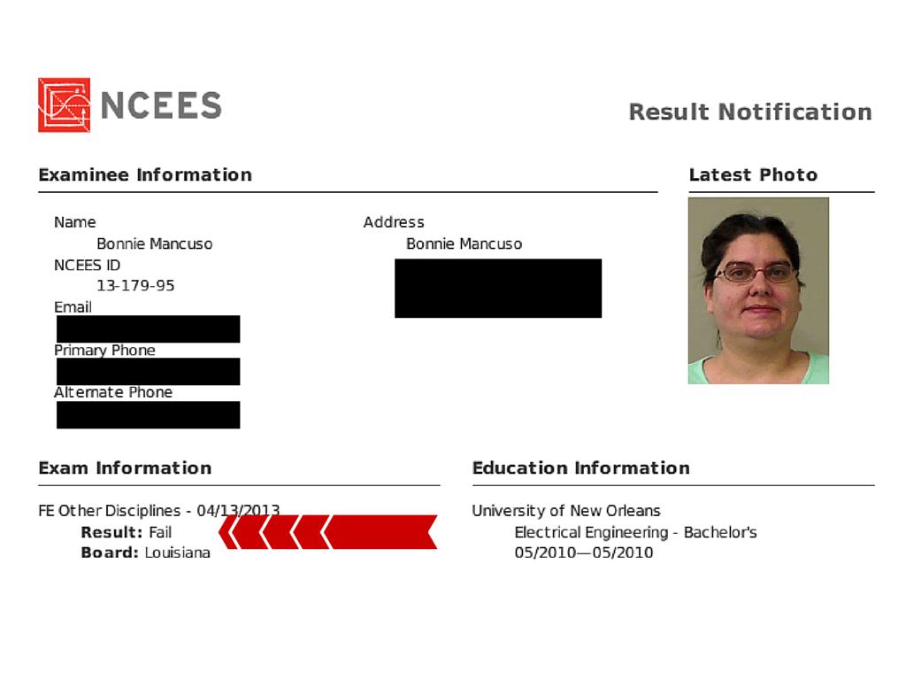 FE Exam Result Bonnie W 3