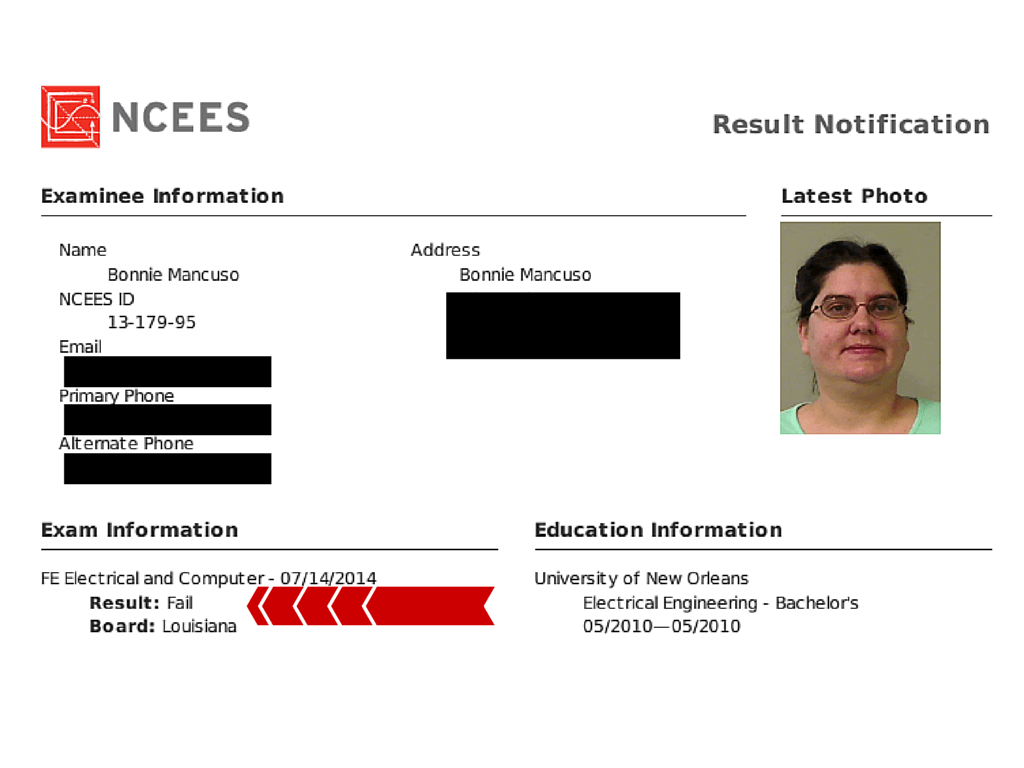 FE Exam Result Bonnie W 5