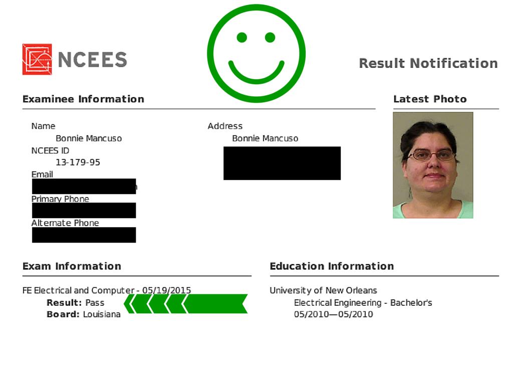 FE Exam Result Bonnie W 6